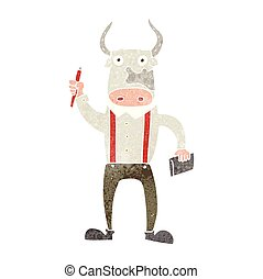 retro cartoon bull man - freehand retro cartoon bull man