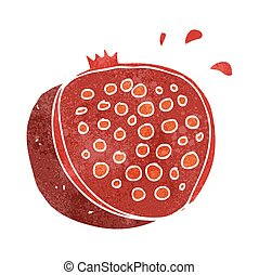 retro cartoon pomegranate - freehand retro cartoon...