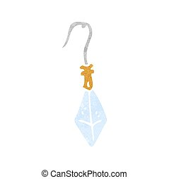 retro cartoon diamond earring - freehand retro cartoon...