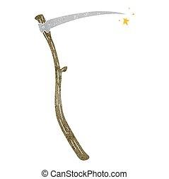 retro cartoon sharp scythe - freehand retro cartoon sharp...