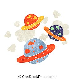 retro cartoon planets