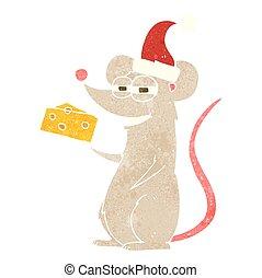 retro cartoon christmas mouse - freehand retro cartoon...
