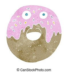 retro cartoon doughnut - freehand retro cartoon doughnut