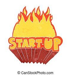 retro cartoon startup symbol - freehand retro cartoon...