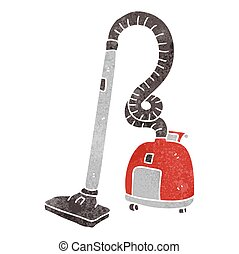 retro cartoon vacuum cleaner - freehand retro cartoon vacuum...