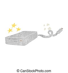 retro cartoon computer hard drive - freehand retro cartoon...