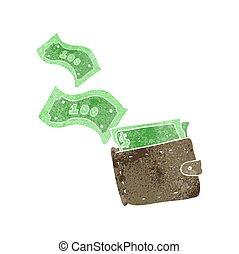 retro cartoon wallet full of money - freehand retro cartoon...