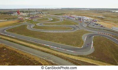 AERIAL VIEW. Carts Racing During Russian Championship -...