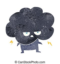 retro cartoon raincloud - freehand retro cartoon raincloud