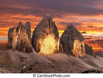Evening view of Drei Zinnen or Tre Cime di Lavaredo,...