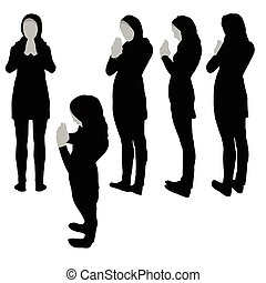 Muslim woman silhouette in pray pose, isolated on white...