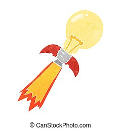 retro cartoon lightbulb rocket ship
