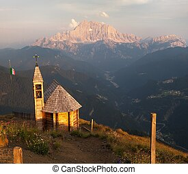 mount Col DI Lana with chapel to mount Civetta - Evening...