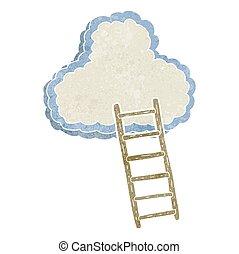 retro cartoon ladder to heaven - freehand retro cartoon...