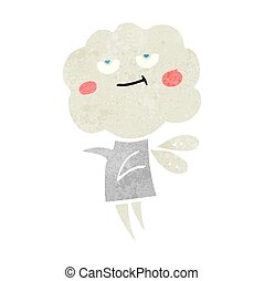 retro cartoon cute cloud head imp - freehand drawn retro...