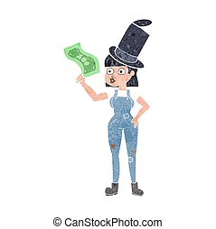 retro cartoon woman holding on to money