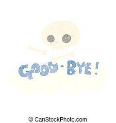 retro cartoon good-bye symbol - freehand retro cartoon...