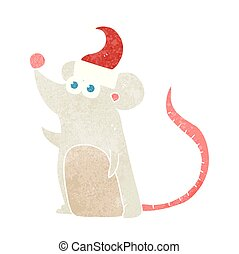 retro cartoon mouse in christmas hat - freehand retro...
