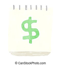 retro cartoon note pad with dollar symbol - freehand retro...