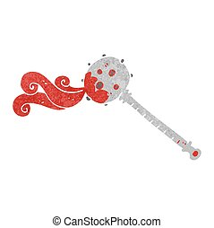 retro cartoon medieval mace - freehand drawn retro cartoon...