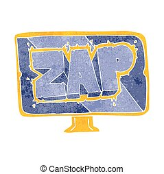 retro cartoon zap screen - freehand retro cartoon zap screen
