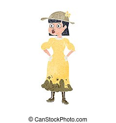 retro cartoon woman in muddy dress - freehand retro cartoon...