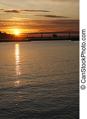 Sunset in Astoria Oregon. - A sunset and reflection on the...