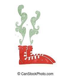 retro cartoon smelly sneakers - freehand retro cartoon...