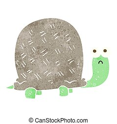 retro cartoon sad turtle - freehand retro cartoon sad turtle
