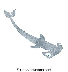 retro cartoon hammerhead shark - freehand retro cartoon...