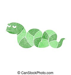 retro cartoon bored snake - freehand drawn retro cartoon...