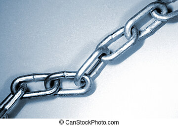 Chain links - Steel chain links, blue tone