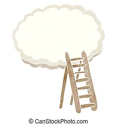 retro cartoon ladder to heaven - freehand retro cartoon...