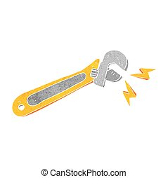 retro cartoon adjustable spanner - freehand drawn retro...