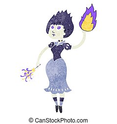 retro cartoon vampire girl casting fireball - freehand retro...