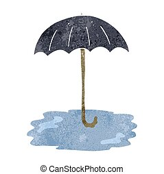 retro cartoon wet umbrella