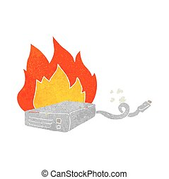 retro cartoon computer hard drive burning - freehand drawn...