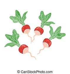 retro cartoon radishes - freehand drawn retro cartoon...