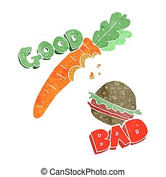 retro cartoon good and bad food - freehand retro good and...