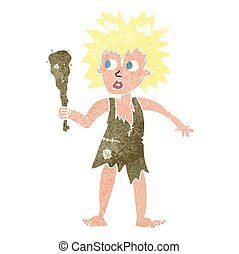 retro cartoon cave woman - freehand drawn retro cartoon cave...