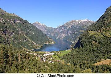 Tranquil scene in Norwegian Geiranger Fjord