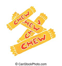 retro cartoon chew candy - freehand retro cartoon chew candy