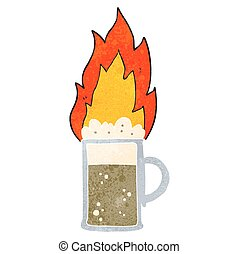 retro cartoon flaming tankard of beer - freehand retro...
