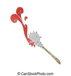 retro cartoon bloody medieval mace - freehand retro cartoon...