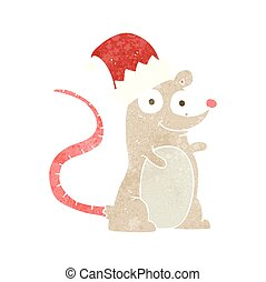 retro cartoon mouse wearing christmas hat - freehand retro...