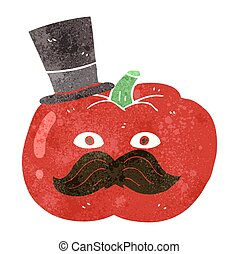 retro cartoon posh tomato - freehand drawn retro cartoon...