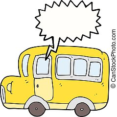 speech bubble cartoon yellow school bus - freehand drawn...