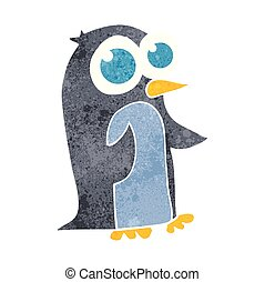 retro cartoon penguin with big eyes - freehand retro cartoon...