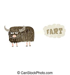 retro cartoon hairy cow farting - freehand retro cartoon...