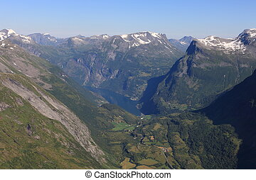 Norwegian Geiranger Fjord from high above on a sunny day